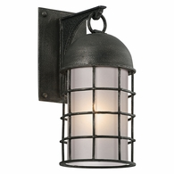 BF4431 Troy Hand-Worked Iron Exterior Charlemagne 1Lt Wall Flourescent Small with Aged Pewter Finish
