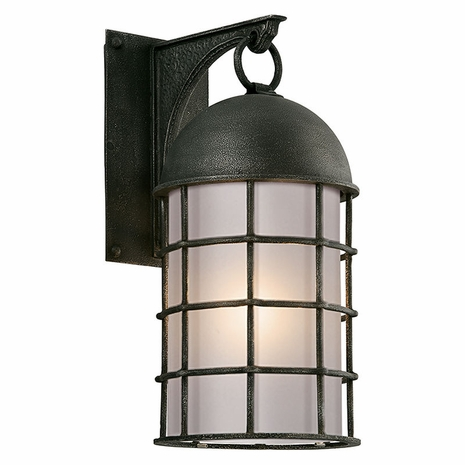 BF4432 Troy Hand-Worked Iron Exterior Charlemagne 1Lt Wall Flourescent Medium with Aged Pewter Finish