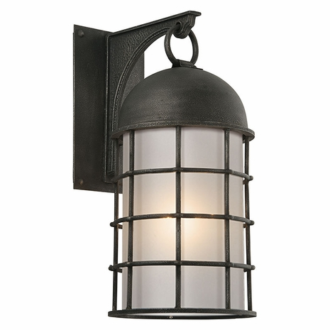BF4433 Troy Hand-Worked Iron Exterior Charlemagne 1Lt Wall Flourescent Large with Aged Pewter Finish