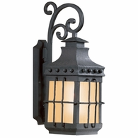 BF8971NB Troy Hand-Forged Iron Exterior Dover 1Lt Wall Lantern W/Amber Mist Glass Medium with Natural Bronze Finish