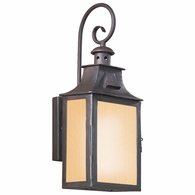 BF9001OBZ Troy Hand-Forged Iron Exterior Newton 1Lt Wall Lantern Fluorescent Small W/Amber Mist Glass with Old Bronze Finish