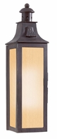 BF9007OBZ Troy Hand-Forged Iron Exterior Newton 1Lt Wall Pocket Lantern Flourescent Small W/Amber Mist Glass with Old Bronze Finish