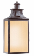 BF9009OBZ Troy Hand-Forged Iron Exterior Newton 2Lt Wall Pocket Lantern Fluorescent Large W/Amber Mist Glass with Old Bronze Finish