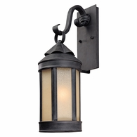 BL1462AI Troy Hand-Worked Iron Exterior Andersons Forge 1Lt Wall Lantern Medium with Antique Iron Finish