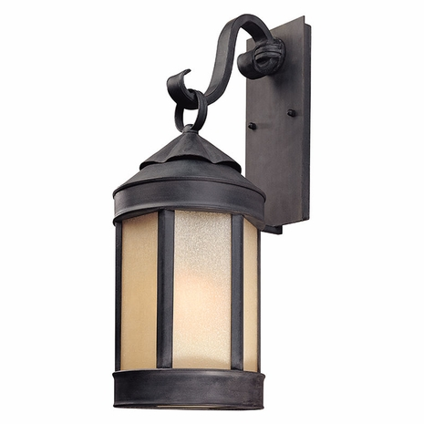 BL1463AI Troy Hand-Worked Iron Exterior Andersons Forge 1Lt Wall Lantern Large with Antique Iron Finish