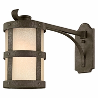BL3315 Troy Hand-Worked Iron Exterior Barbosa 1Lt Wall Lantern Extended Arm Led Medium with Barbosa Bronze Finish
