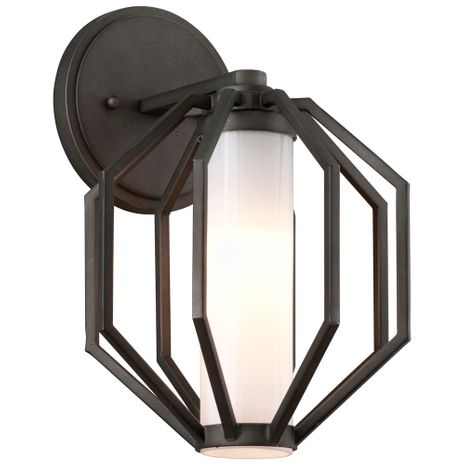 BL4981 Troy Hand-Worked Iron Exterior Boundary 1Lt Wall Lantern Small with Textured Graphite Finish