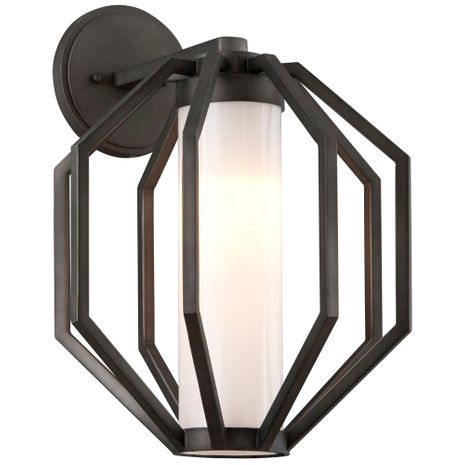 BL4983 Troy Hand-Worked Iron Exterior Boundary 1Lt Wall Lantern Large with Textured Graphite Finish