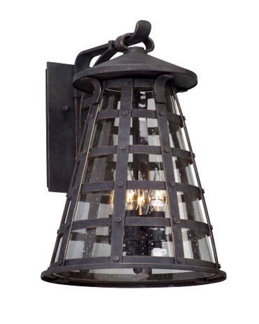 BL5163 Troy Solid Aluminum Exterior Benjamin 1Lt Wall Lantern Led Large with Vintage Iron Finish