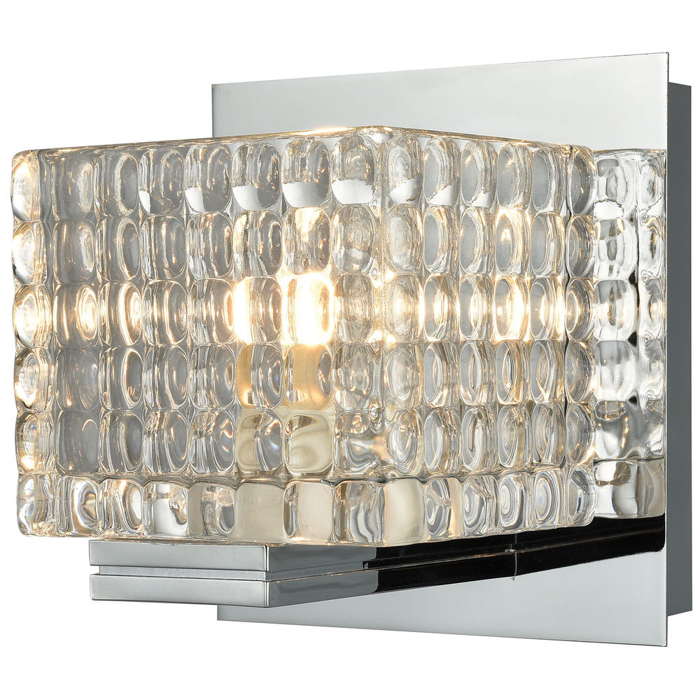 BV2311-0-15 ELK Lighting Chastain 1-Light Vanity Lamp in Chrome with Clear Glass Cube Shade