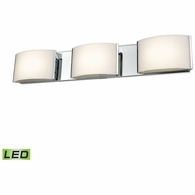 BVL913-10-15 ELK Lighting Pandora 3-Light Vanity Sconce in Chrome with Opal Glass - Integrated LED