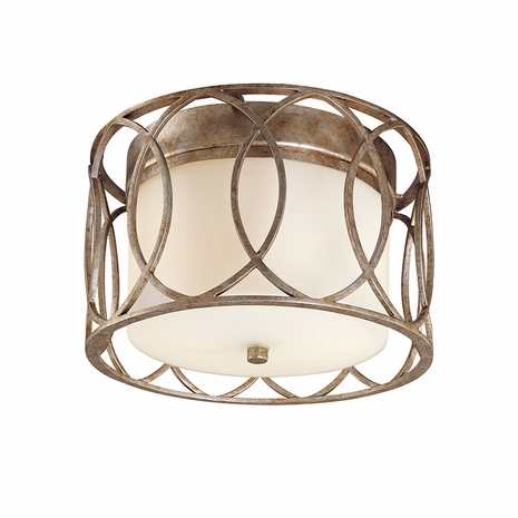 C1280SG Troy Hand-Worked Iron Interior Sausalito 2Lt Ceiling Flush - Silver Gold with Silver Gold Finish