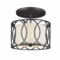 C1283DB Troy Hand-Worked Iron Interior Sausalito 3Lt Ceiling Semi-Flush with Deep Bronze Finish