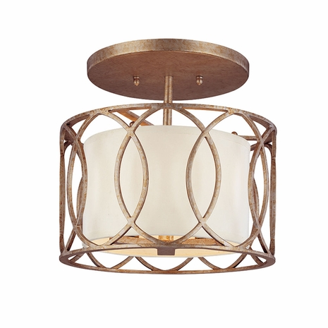 C1283SG Troy Hand-Worked Iron Interior Sausalito 3Lt Ceiling Semi-Flush with Silver Gold Finish