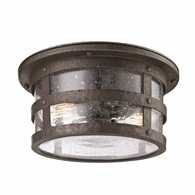 C3310 Troy Hand-Worked Iron Exterior Barbosa 2Lt Ceiling Flush with Barbosa Bronze Finish
