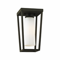 C6350 Troy Hand-Worked Iron Exterior Mission Beach 1Lt Semi Flush with Textured Black Finish