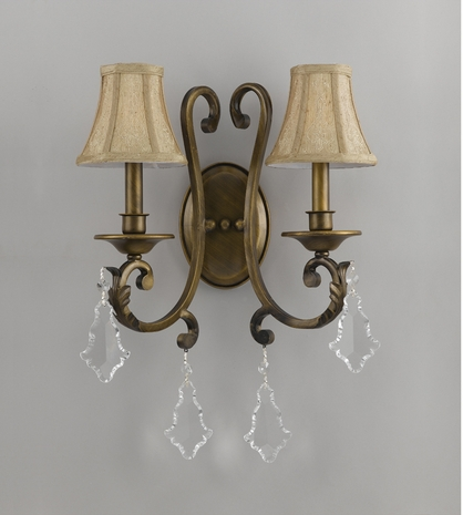 C6932-AB Crystorama Lighting Antique Brass Sconce Accented With Hand Embroidered Shades