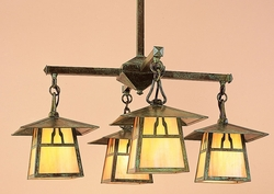 "CCH-8-4 Arroyo Craftsman 8"" Carmel 4 Light Chandelier With Bungalow Overlay"