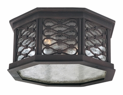 CF2370OI Troy Hand-Worked Iron Exterior Los Olivos 1Lt Ceiling Flourescent Flush with Old Iron Finish