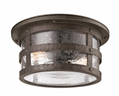CF3310 Troy Hand-Worked Iron Exterior Barbosa 2Lt Ceiling Flourescent Flush with Barbosa Bronze Finish