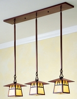 """CICH-8-3 Arroyo Craftsman 8"""" Carmel 3 Light In-Line Chandelier With Bungalow Overlay"""