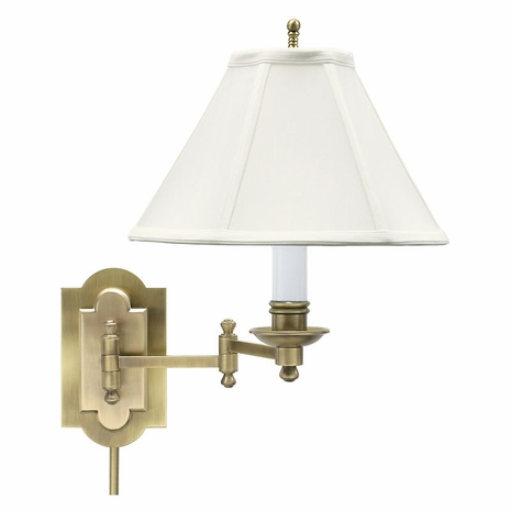 CL225-AB House of Troy Club Antique Brass Wall Swing Arm Lamp