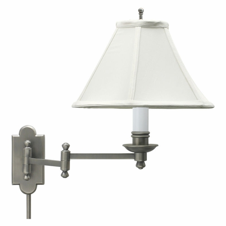 CL225-AS House of Troy Club Antique Silver Wall Swing Arm Lamp