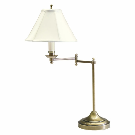 "CL251-AB House of Troy Club 25"" Antique Brass Table Lamp with swing arm"
