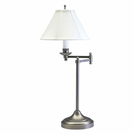 """CL251-AS House of Troy Club 25"""" Antique Silver Table Lamp with swing arm"""
