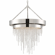 CLA-A3206-PN-CL-MWP Crystorama Clarksen 6 Light Polished Nickel Chandelier