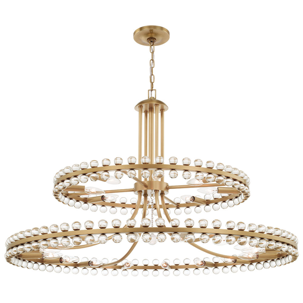 CLO-8890-AG Crystorama Clover 24 Light Aged Brass Two Tier Chandelier