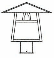 """CP-12 Arroyo Craftsman 12"""" Carmel Post Mount With Bungalow Overlay"""