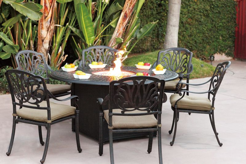 Darlee Elisabeth Six Seat Patio Set With 60 Universal Round Fire Pit Dining Table