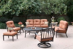DL1098 Darlee Classic Charleston Deep Seating Group 4 PC Set in Antique Bronze