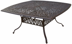 """DL707-E Darlee Elisabeth 64"""" Square Dining Table in Cast-Aluminum with an Antique Bronze Finish"""