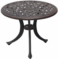 "DL80-A Darlee 21"" Round End Patio Table in Cast-Aluminum with an Antique Bronze Finish"