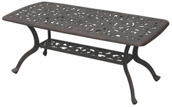DL80-B Darlee 21 x 42 inch Coffee Patio Table in Cast-Aluminum with an Antique Bronze Finish