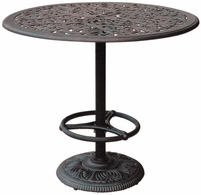 "DL80-F Darlee 42"" Round Pedestal Bar Patio Table in Cast-Aluminum Top with an Antique Bronze Finish"