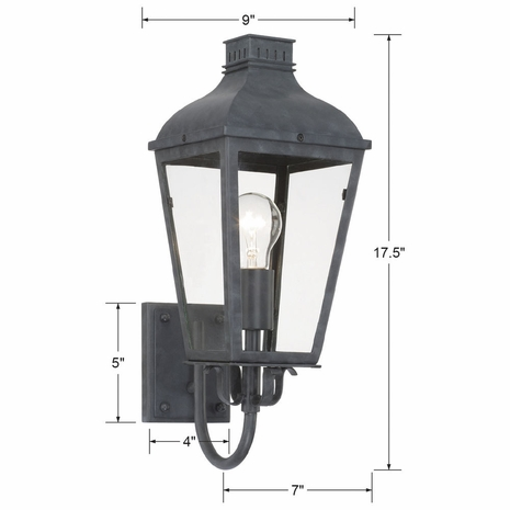 DUM-9801-GE Crystorama Dumont Outdoor 1 Light Graphite Wall Mount