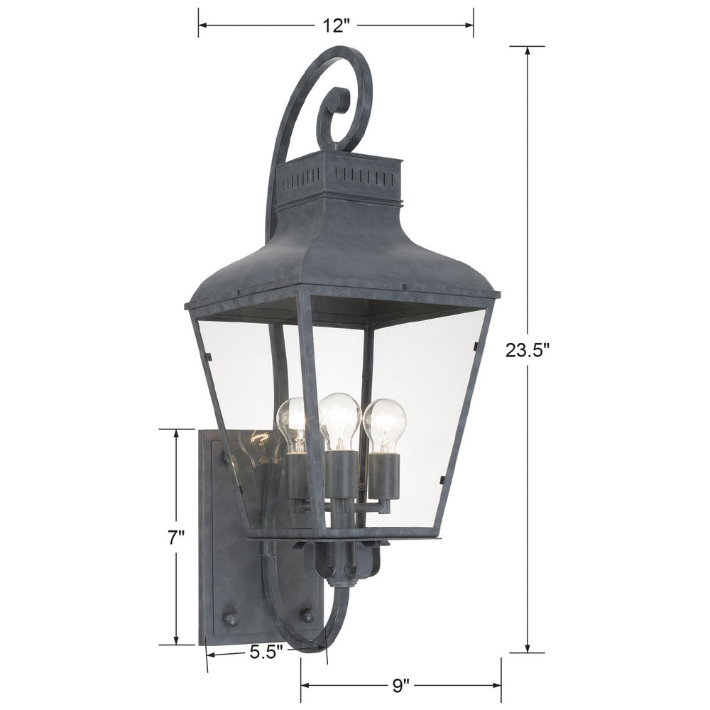DUM-9803-GE Crystorama Dumont Outdoor 3 Light Graphite Wall Mount
