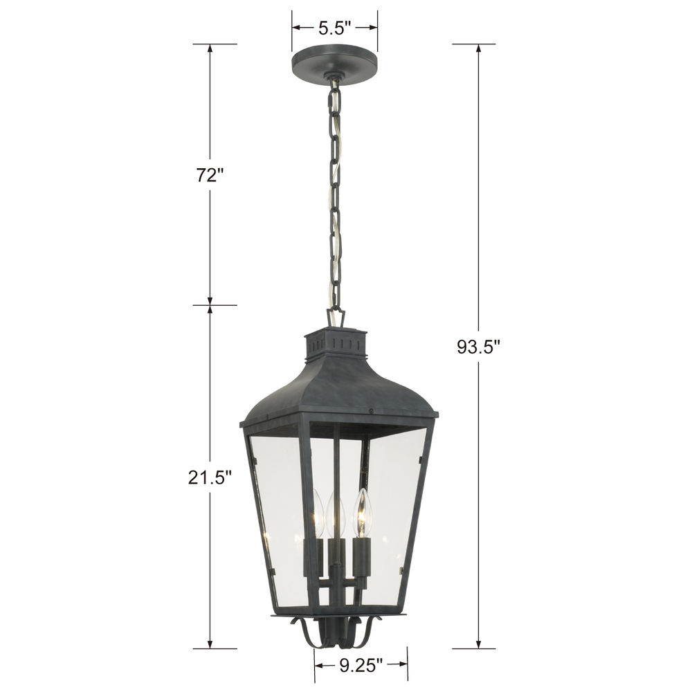DUM-9805-GE Crystorama Dumont Outdoor 3 Light Graphite Chandelier