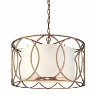 F1285SG Troy Hand-Worked Iron Interior Sausalito 5Lt Pendant Dining with Silver Gold Finish