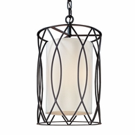 F1287DB Troy Hand-Worked Iron Interior Sausalito 3Lt Pendant Small with Deep Bronze Finish