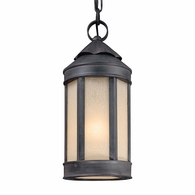 F1467AI Troy Hand-Worked Iron Exterior Andersons Forge 1Lt Hanging Lantern Medium with Antique Iron Finish