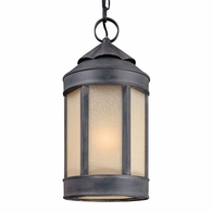 F1468AI Troy Hand-Worked Iron Exterior Andersons Forge 1Lt Hanging Lantern Large with Antique Iron Finish