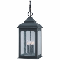 F2018CI Troy Hand-Worked Iron Exterior Henry Street 4Lt Hanging Lantern Large with Colonial Iron Finish