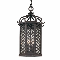 F2377OI Troy Hand-Worked Iron Exterior Los Olivos 3Lt Hanging Lantern Medium with Old Iron Finish