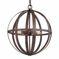 F2514WI Troy Hand-Worked Iron Interior Flatiron 4Lt Pendant Medium with Weathered Iron Finish