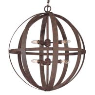 F2516WI Troy Hand-Worked Iron Interior Flatiron 6Lt Pendant Large with Weathered Iron Finish