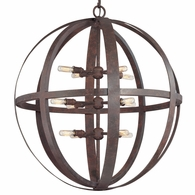 F2518WI Troy Hand-Worked Iron Interior Flatiron 12Lt Pendant Extra Large with Weathered Iron Finish